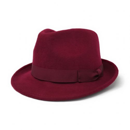 Wine Trilby Hat: Handmade Wool Felt Crushable - Camden